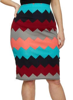 Plus Size Chevron Midi Pencil Skirt - 1929020626174