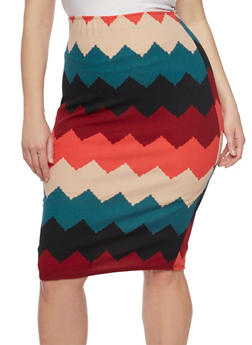 Plus Size Chevron Midi Pencil Skirt - 1929020626174