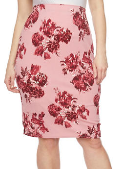 Plus Size Floral Pencil Skirt - 1929020626175