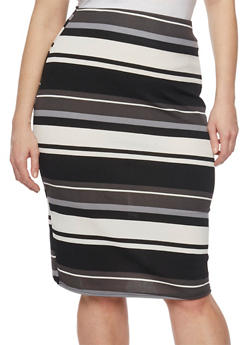 Plus Size Striped Midi Pencil Skirt - 1929020626176