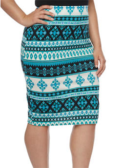 Plus Size Aztec Print Pencil Skirt - 1929020626178