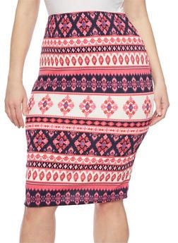 Plus Size Aztec Print Pencil Skirt - PINK - 1929020626178