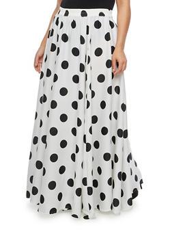 Plus Size Polka Dot Maxi Skirt - WHITE BLACK - 1929056126979