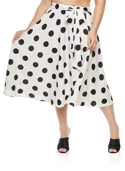 Plus Size Polka Dot Skater Skirt - 1929056126991