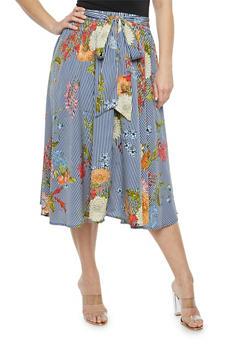 Plus Size Striped Floral Skater Skirt - 1929056126992