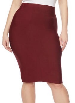 Plus Size Solid Stretch Pencil Skirt - 1929068197072