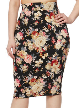 Plus Size Floral Pencil Skirt - 1929068512425