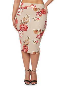 Plus Size Floral Pencil Skirt - KHAKI - 1929068512425