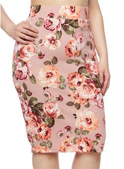 Plus Size Floral Pencil Skirt - MAUVE - 1929068512425