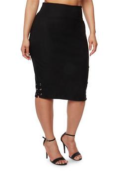 Plus Size Side Lace Up Pencil Skirt - 1929068512484