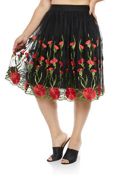 Plus Size Floral Embroidered Mesh Skirt - 1929069390119