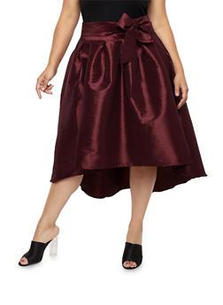 Plus Size Taffeta High Low Skirt - 1929069391002