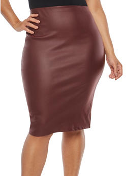 Plus Size Coated Pencil Skirt - 1929069391051