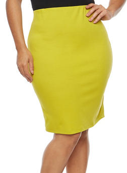Plus Size Ponte Pencil Skirt - 1929069391070