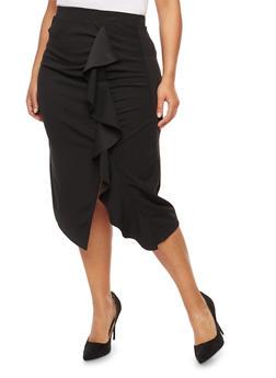 Plus Size Ruffle Front Midi Skirt - 1929069391088