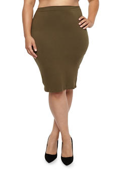 Plus Size Soft Knit Pencil Skirt - OLIVE - 1929069391111