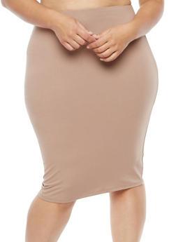 Plus Size Soft Knit Pencil Skirt - 1929069391111