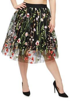 Plus Size Embroidered Tulle Skirt - 1929069391117