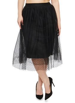 Plus Size Mesh Dot Skater Skirt - 1929069391118