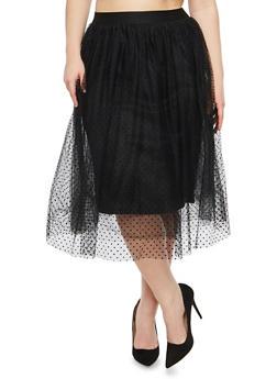 Plus Size Mesh Dot Skater Skirt - 1929069391118