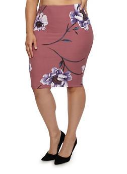 Plus Size Floral Midi Pencil Skirt - 1929069392641