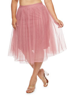 Plus Size Tulle Skater Skirt - 1929069394000