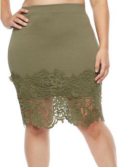 Plus Size Crotchet Trim Midi Skirt - 1929069394033