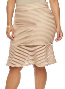 Plus Size Flounce Hem Skirt - 1929069394088