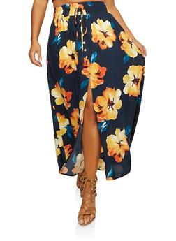 Plus Size Floral Front Slit Maxi Skirt - 1929069395135