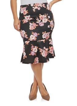 Plus Size Floral Peplum Hem Skirt - 1929069397229