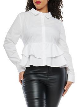 Plus Size Tiered Hem Button Front Shirt - 1929069399623