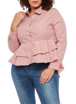 Plus Size Tiered Hem Button Front Shirt - 1929069399623
