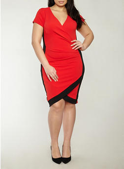Plus Size V Neck Bodycon Dress with Contrast Trim - RED BLACK - 1930015992021