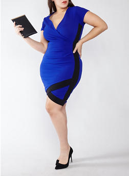 Plus Size V-Neck Bodycon Dress with Contrast Trim - 1930015992021