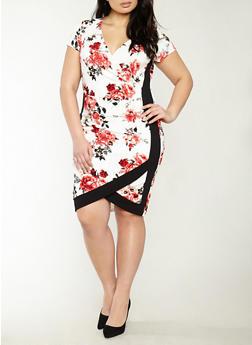 Plus Size Tulip Hem Floral Dress - 1930015992022