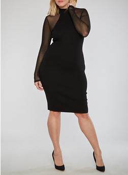 Plus Size Ribbed Knit Dress with Mesh Sleeves - 1930015992030