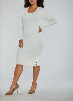 Plus Size Ribbed Knit Side Snap Midi Dress - 1930015992110