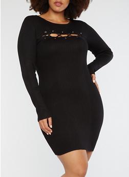 Plus Size Rib Knit Lace Up Bodycon Dress - BLACK - 1930015992641