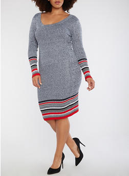 Plus Size Ribbed Border Print Sweater Dress - 1930015994312