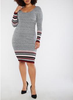 Plus Size Ribbed Border Print Sweater Dress - BURGUNDY - 1930015994312