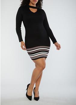 Plus Size Border Print Sweater Dress - 1930015994771