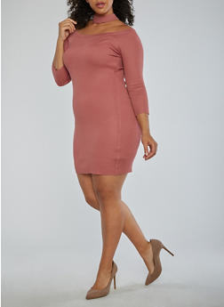 Plus Size Choker Neck Off the Shoulder Dress - 1930015994872