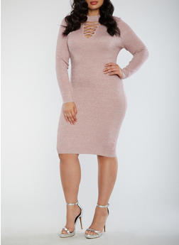 Plus Size Ribbed Glitter Knit Caged Neck Bodycon Dress - 1930015995166