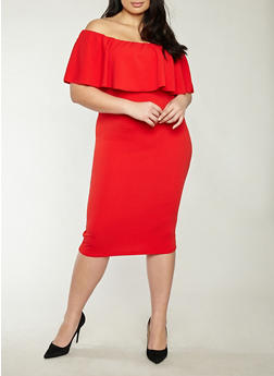 Plus Size Crepe Knit Off the Shoulder Dress - 1930015995391