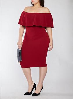 Plus Size Crepe Knit Off the Shoulder Dress - 1930015995391
