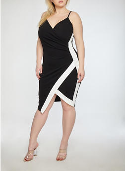 Plus Size Textured Knit Contrast Trim Ruched Dress - BLACK/WHITE - 1930015996094