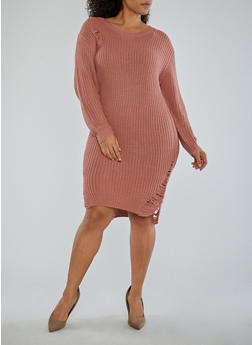 Plus Size Distressed Sweater Dress - 1930015997970