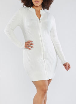 Plus Size Zip Front Sweater Dress - IVORY - 1930015998060