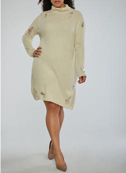 Plus Size Distressed Turtleneck Sweater Dress - 1930015998190