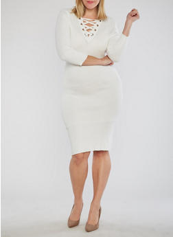 Plus Size Double Lace Up Bodycon Dress - IVORY - 1930015999712